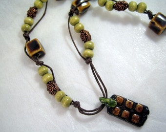 SALE Ceramic Pendant Necklace - Handmade Pendant, Sage Green Wood, Copper