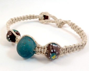 Teal Recycled Glass Bracelet - Natural Hemp Macrame Bracelet, Stack Style