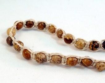 Picture Jasper Stacking Bracelet - Natural Hemp Macrame Bracelet, Brown Stone Bead