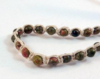 Unakite Stacking Bracelet - Natural Hemp Macrame Bracelet, Pink Green Stone Bead