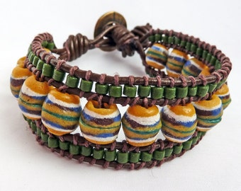 Green and Golden Yellow Recycled Glass Cuff Bracelet on Brown Leather