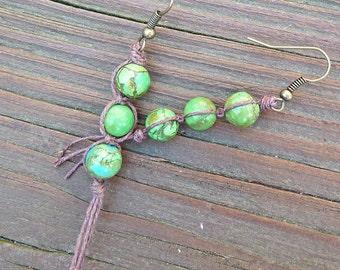 Three Peas in a Pod Earrings - Dangle Earrings, Bright Green Magnesite Bead, Brown Hemp Earrings