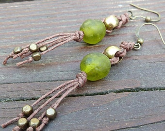 Green Glass Earrings - Dangle Earrings, Olive Green Recycled Glass Bead, Brown Hemp Earring, Vintage Brass Beads