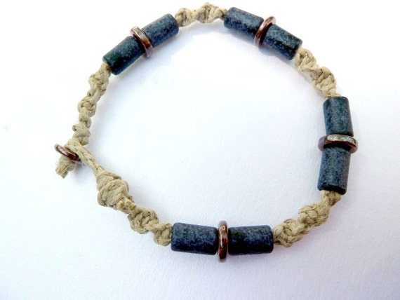 Slate Blue Bracelet - Natural Hemp Macrame Bracelet, Slate Blue Ceramic Beads, Copper Beads