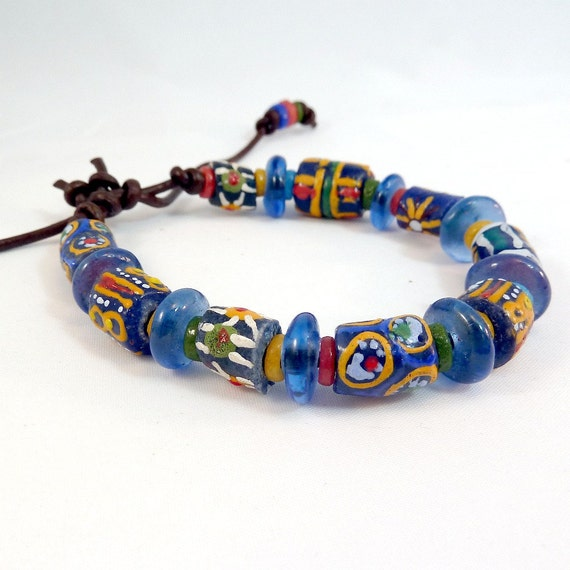 Dark Blue Recycled Glass Bracelet on Brown Leather - Adjustable