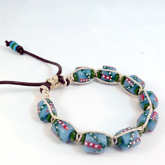 Recycled Glass Bracelet - Adjustable, Light Blue, Olive Green, Natural Hemp, Brown Leather