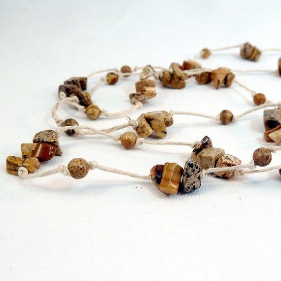 SALE - Hemp Necklace - Picture Jasper, Natural Hemp