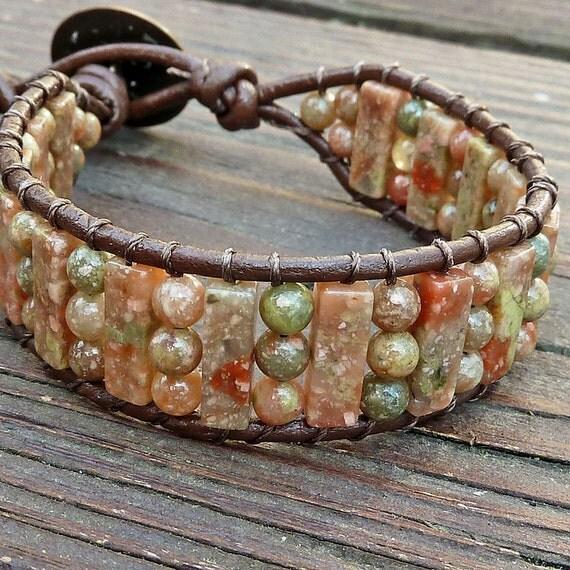 Autumn Jasper Cuff Bracelet - Brown Leather Wrap Bracelet, Green Red Orange Autumn Jasper Beads