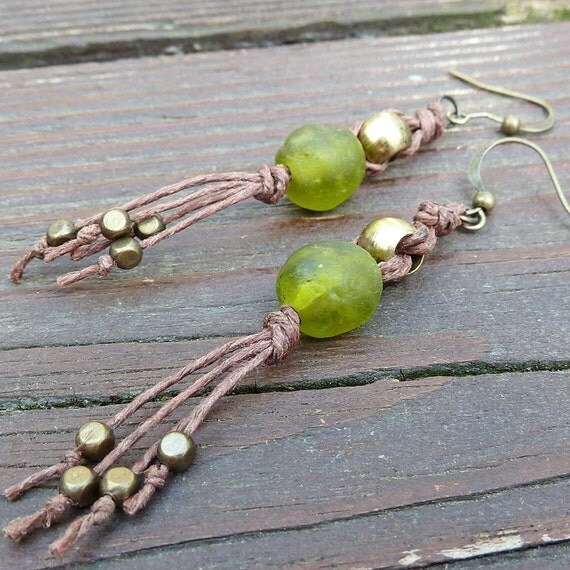 Green Glass Earrings - Dangle Earrings, Olive Green Recycled Glass Bead, Brown Hemp Earring, Vintage Brass Beads