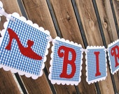 HAPPY BIRTHDAY Banner - Blue Gingham Wizard of Oz Theme with Red Ruby Slippers - Dorothy Birthday Party Decoration