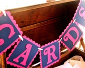 CARDS Wedding Banner - Pink & Navy Blue Sign