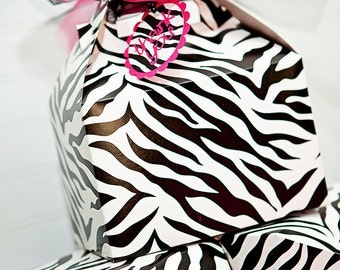 Zebra Print PARTY FAVOR BOXES- Set of 12 - Large Gable Treat Boxes - Birthday, Baby shower, Bridal Shower, all occasion