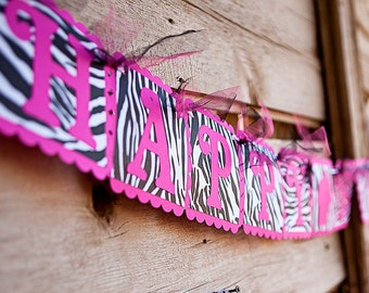 HAPPY BIRTHDAY Banner - Pink & Zebra Print Banner with cupcake - Woman's, Girls Birthday Party Decoration - Zebra party decor