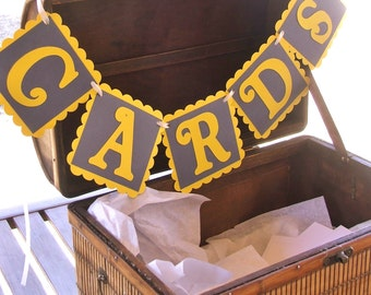 CARDS Banner - Yellow & Gray Hanging Sign - Wedding, Anniversary, Graduation, Baby Shower, Birthday Party