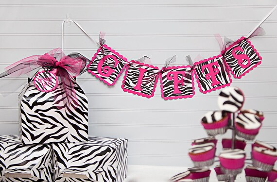 Trio Banner Set: GIFTS, FOOD, SWEETS - Hot Pink & Zebra Banners - Set of 3 - Birthday Party, Bridal Shower, Baby Shower, Graduation