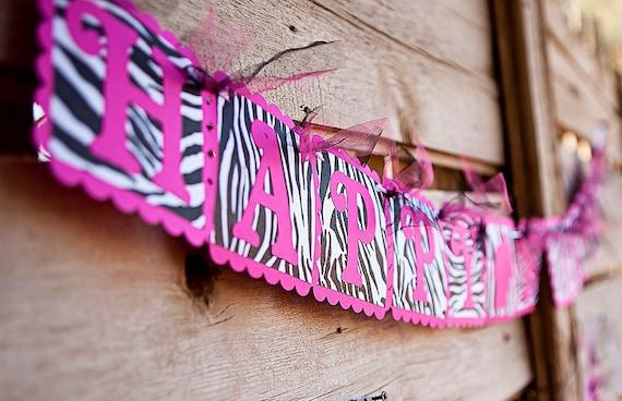 HAPPY BIRTHDAY Banner - Hot Pink & Zebra Print Banner w/ cupcake - Woman's/Girls Birthday Party