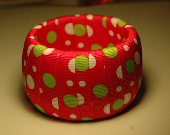 Pink Polka Dots Chunky Bangle