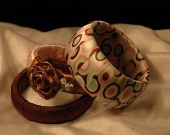 Chocolate and Mint Bangle Dots Bangle Trio set.