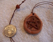 Pentacle ceramic pendant necklace