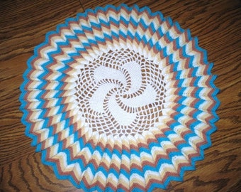 """Vintage Doily Crocheted in Turquoise, Brown, Yellow and White  LARGE 14"""""""