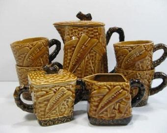 Bamboo Coffee Set - Creamer Sugar Cups Pot - Ceramic Bamboo Look ... 9 Piece set