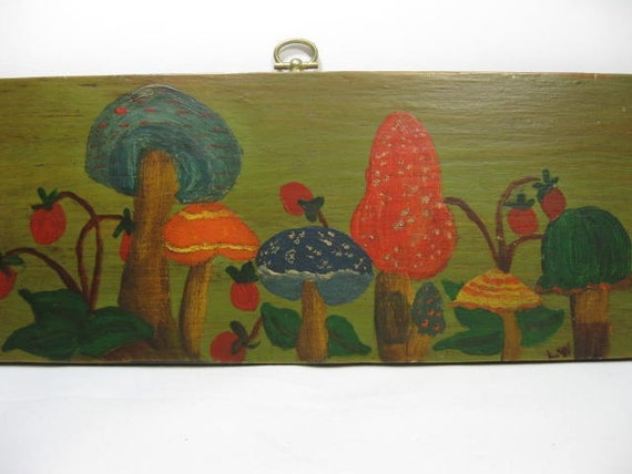 Mushrooms Whimsical Wooden Wall Plaque ... Hand Painted