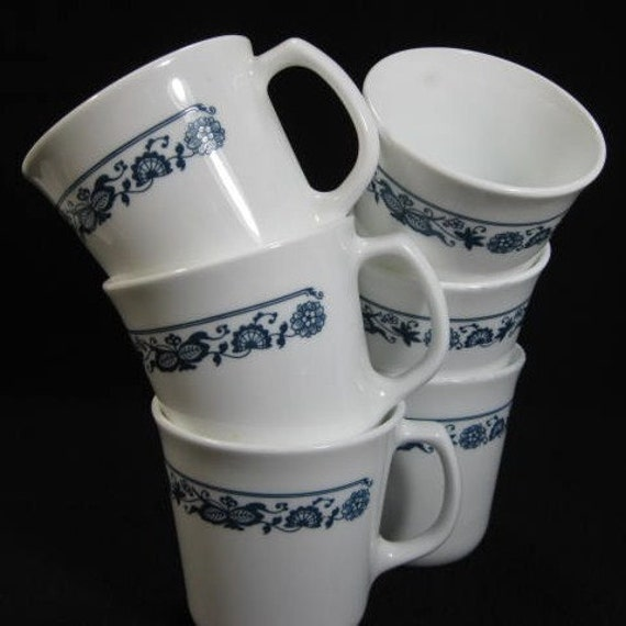 Old Town Blue Mugs by Corning