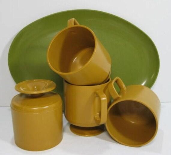 Gold Mugs and Green Platter - Melmac-ish
