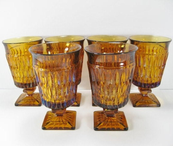 Amber Indiana Glass ... Footed Goblet ... Mt Vernon Pattern ... Set of 6