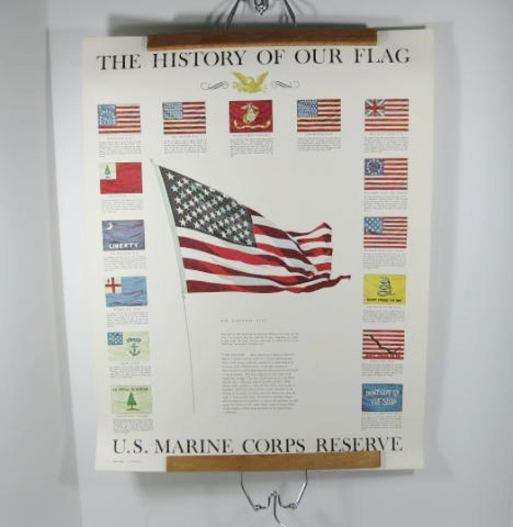 U.S. Marine Corps Reserve The History of our Flag poster USMC