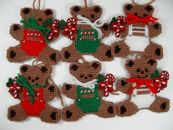 Vintage Christmas Bear Ornaments  Set of 6 Bears