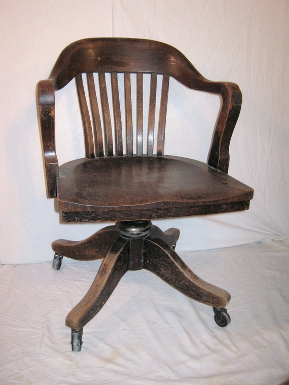 Bankers Chair Vintage Heavy Wood from 1930 or 40s Office Desk
