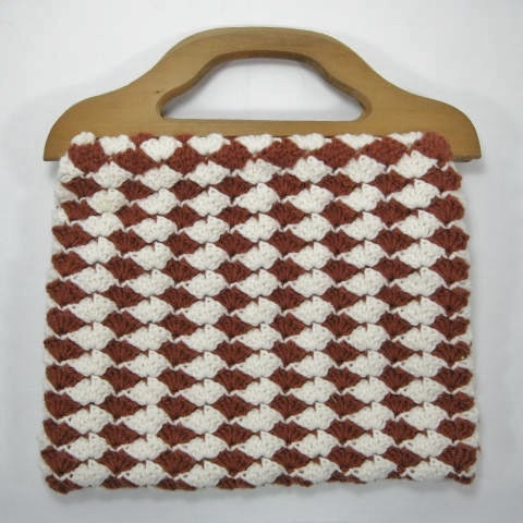 Crocheted Purse with Wooden Handles by TheFrontHouse on Etsy