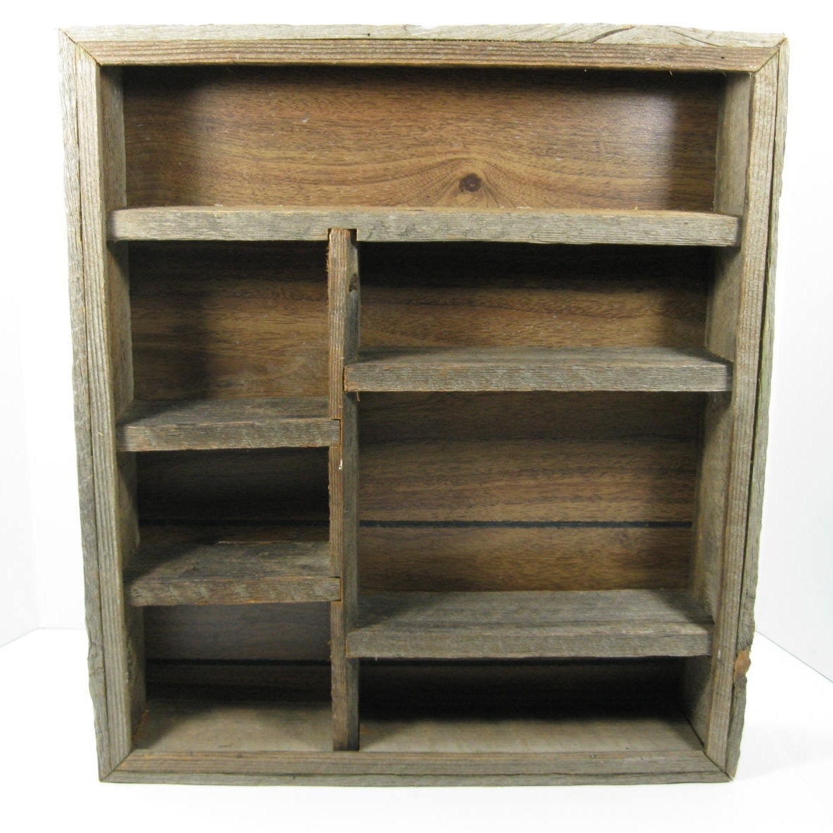 barnwood wall shelf rustic shadow box by thefronthouse. Black Bedroom Furniture Sets. Home Design Ideas