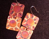Yellow, pink, copper earrings, double square copper jewelry
