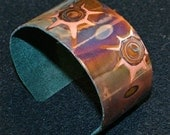 Copper bracelet  jewelry, heat oxidized, cuff bracelet