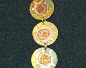 Copper triple choker, green oxidized copper jewelry