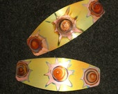 Small copper hair barrettes, oxidized  yellow jewelry