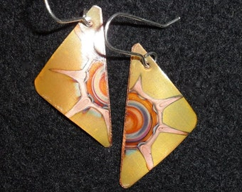 Yellow copper earrings, small, triangular oxidized  jewelry