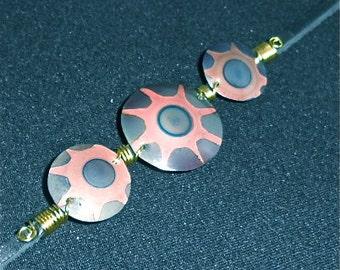 Copper bracelet, round, blue copper jewelry