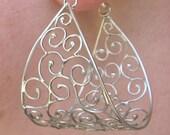 SALE was 120 now 90 Sterling silver filigree earrings, egyptian style, OOAK