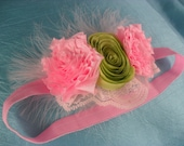 Headand pink and green flowers with lace and feathers