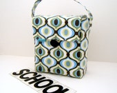 INSULATED Lunch Bag Tall Box in Retro Wave with ZIPPER