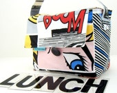 INSULATED Lunch Bag Short Box in Pop Art with ZIPPER