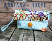 Clutch with Handle in Garden Gate Laminated Cotton