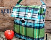 Insulated Lunch Bag in Green Aqua Tartan