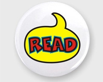 Reading Button, One Inch Diameter, Pin Backed
