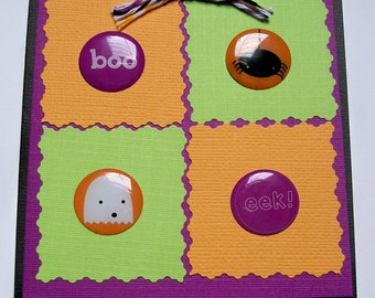 Cute Ghost and Spider Halloween Greeting Card