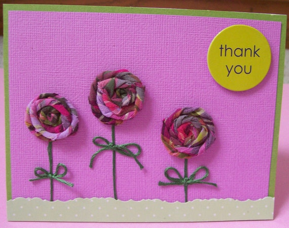 Thank You Plaid Rolled Flowers Greeting Card