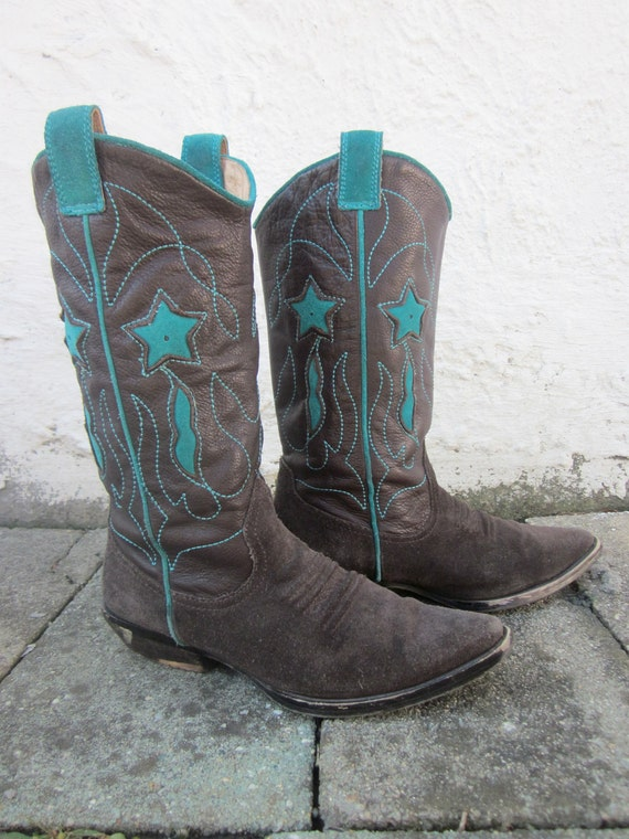 Brown And Teal Star Cowboy Boots 6 By Irenemarinos On Etsy